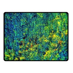 Flowers Abstract Yellow Green Double Sided Fleece Blanket (small)  by Costasonlineshop