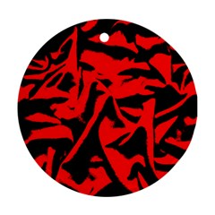 Red Black Retro Pattern Ornament (round)  by Costasonlineshop