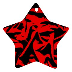 Red Black Retro Pattern Ornament (star)  by Costasonlineshop
