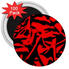 Red Black Retro Pattern 3  Magnets (100 Pack) by Costasonlineshop