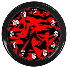 Red Black Retro Pattern Wall Clocks (black) by Costasonlineshop