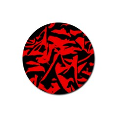 Red Black Retro Pattern Rubber Coaster (round)  by Costasonlineshop