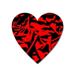 Red Black Retro Pattern Heart Magnet by Costasonlineshop