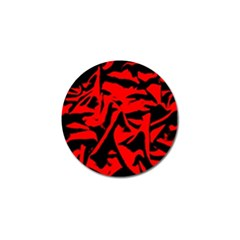 Red Black Retro Pattern Golf Ball Marker by Costasonlineshop