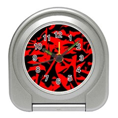 Red Black Retro Pattern Travel Alarm Clocks by Costasonlineshop