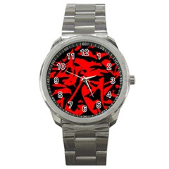 Red Black Retro Pattern Sport Metal Watches by Costasonlineshop