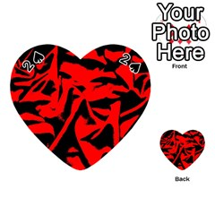 Red Black Retro Pattern Playing Cards 54 (heart)  by Costasonlineshop