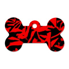 Red Black Retro Pattern Dog Tag Bone (one Side) by Costasonlineshop