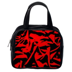 Red Black Retro Pattern Classic Handbags (one Side) by Costasonlineshop