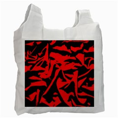 Red Black Retro Pattern Recycle Bag (two Side)  by Costasonlineshop