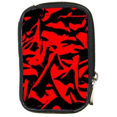 Red Black Retro Pattern Compact Camera Cases by Costasonlineshop