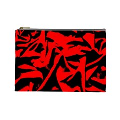 Red Black Retro Pattern Cosmetic Bag (large)  by Costasonlineshop