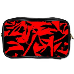 Red Black Retro Pattern Toiletries Bags 2 Side by Costasonlineshop
