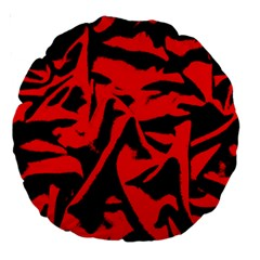 Red Black Retro Pattern Large 18  Premium Round Cushions by Costasonlineshop