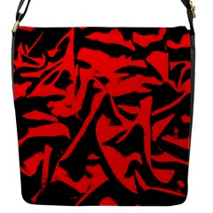 Red Black Retro Pattern Flap Messenger Bag (s) by Costasonlineshop