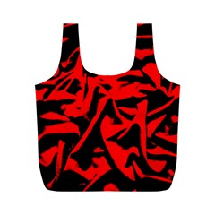 Red Black Retro Pattern Full Print Recycle Bags (m)  by Costasonlineshop