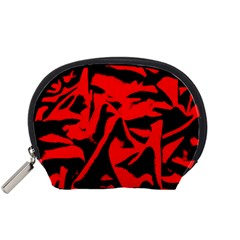Red Black Retro Pattern Accessory Pouches (small)  by Costasonlineshop