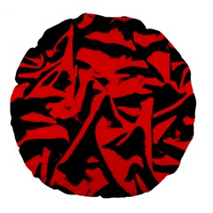 Red Black Retro Pattern Large 18  Premium Flano Round Cushions by Costasonlineshop