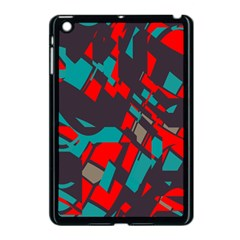Red Blue Pieces			apple Ipad Mini Case (black) by LalyLauraFLM