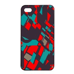 Red Blue Pieces			apple Iphone 4/4s Seamless Case (black) by LalyLauraFLM