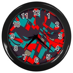 Red Blue Pieces			wall Clock (black)