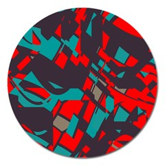 Red Blue Pieces			magnet 5  (round) by LalyLauraFLM