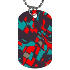 Red Blue Pieces			dog Tag (one Side) by LalyLauraFLM