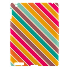Colorful Diagonal Stripes			apple Ipad 3/4 Hardshell Case by LalyLauraFLM