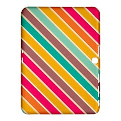 Colorful Diagonal Stripes			samsung Galaxy Tab 4 (10 1 ) Hardshell Case by LalyLauraFLM