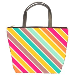 Colorful Diagonal Stripes 	bucket Bag by LalyLauraFLM