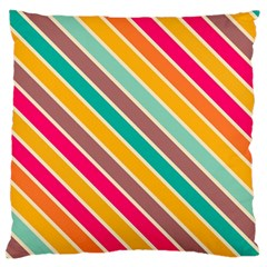 Colorful Diagonal Stripes 	large Flano Cushion Case (two Sides) by LalyLauraFLM