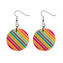 Colorful Diagonal Stripes			1  Button Earrings by LalyLauraFLM