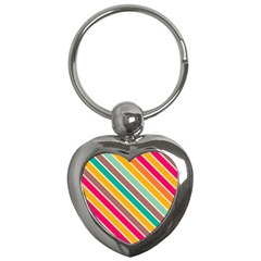 Colorful Diagonal Stripes			key Chain (heart) by LalyLauraFLM