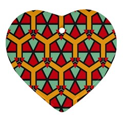 Honeycombs Triangles And Other Shapes Pattern			ornament (heart) by LalyLauraFLM