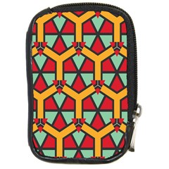 Honeycombs Triangles And Other Shapes Pattern			compact Camera Leather Case by LalyLauraFLM