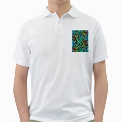 Turquoise Blue Green  Painting Pattern Golf Shirts by Costasonlineshop