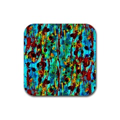Turquoise Blue Green  Painting Pattern Rubber Square Coaster (4 Pack)