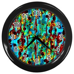 Turquoise Blue Green  Painting Pattern Wall Clocks (black) by Costasonlineshop