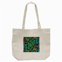 Turquoise Blue Green  Painting Pattern Tote Bag (cream)  by Costasonlineshop
