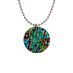 Turquoise Blue Green  Painting Pattern Button Necklaces by Costasonlineshop