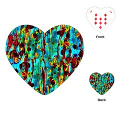 Turquoise Blue Green  Painting Pattern Playing Cards (heart)  by Costasonlineshop