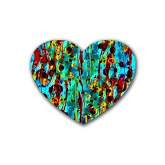 Turquoise Blue Green  Painting Pattern Rubber Coaster (heart)
