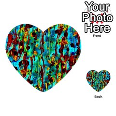 Turquoise Blue Green  Painting Pattern Multi Purpose Cards (heart)  by Costasonlineshop