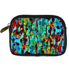 Turquoise Blue Green  Painting Pattern Digital Camera Cases by Costasonlineshop