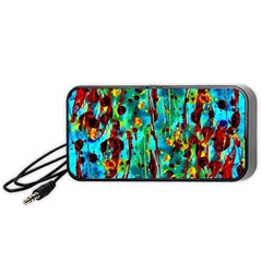 Turquoise Blue Green  Painting Pattern Portable Speaker (black)  by Costasonlineshop