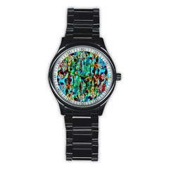 Turquoise Blue Green  Painting Pattern Stainless Steel Round Watches by Costasonlineshop