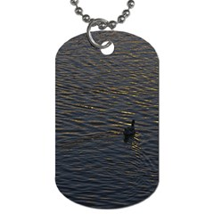Lonely Duck Swimming At Lake At Sunset Time Dog Tag (two Sides) by dflcprints