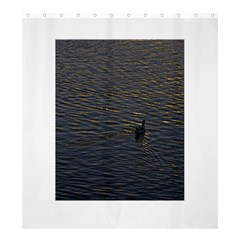 Lonely Duck Swimming At Lake At Sunset Time Shower Curtain 66  X 72  (large)  by dflcprints
