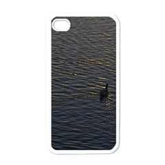 Lonely Duck Swimming At Lake At Sunset Time Apple Iphone 4 Case (white) by dflcprints