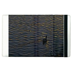 Lonely Duck Swimming At Lake At Sunset Time Apple Ipad 2 Flip Case by dflcprints